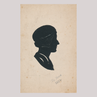 Front of silhouette, with woman looking right, wearing a bonnet.