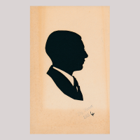 Front of silhouette, man looking right, wearing a suit.