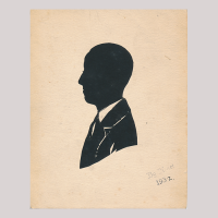 Front of silhouette, with man looking left, wearing a suit.