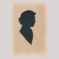 Front of silhouette, with boy looking right.