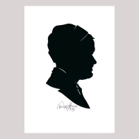 Front of silhouette, with man looking right, wearing a ribbon.