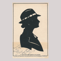 Front of silhouette, with woman looking right, wearing a hat.