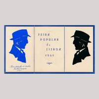 Silhouettes of a blue man looking to the right and another man looking to the left