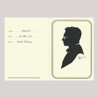 Front of silhouette, Man wearing glasses and looking to the left