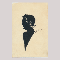 Front of silhouette, Elderly woman looking to the left