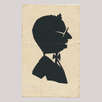 Front of silhouette, Man wearing glasses and looking to the right