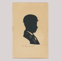 Front of silhouette, School boy looking to the right