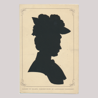 Front of silhouette, Woman wearing a hat and looking to the right