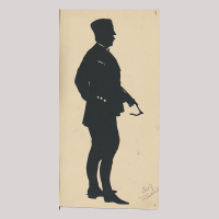 Front of silhouette, with man looking right, police officier, wearing a hat and with a whip.