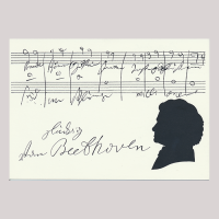 Front of silhouette, with man looking left, in the background musical stave, with the signature of the subject of the silhouette.