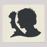 Front of silhouette, with two boys looking left, between the boy close-up and the one in the background there is a space.