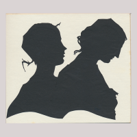 Front of silhouette, with two women looking right.