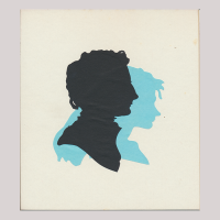 Front of silhouette, with close-up a boy looking right; in the background a girl looking right painted in diffierent color.