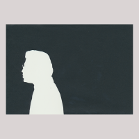 Silhouette with man looking left, wearing glasses.