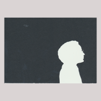 Silhouette with man looking right and wearing glasses