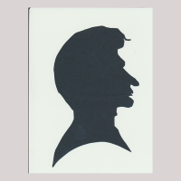 Front of silhouette, with man looking right.