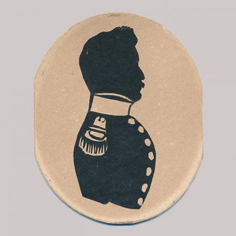 Front of silhouette, with man looking right, wearing military dress.