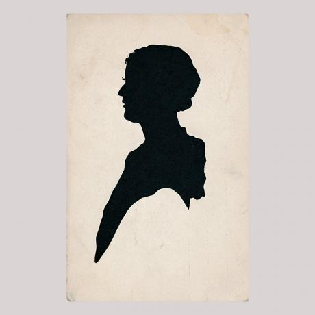 Front of silhouette, with woman looking left.