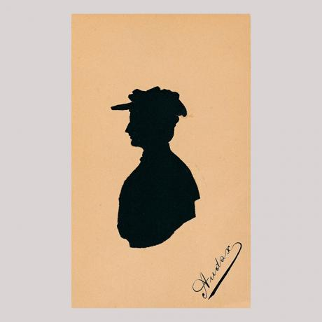 Front of silhouette, with woman looking left, wearing a hat.