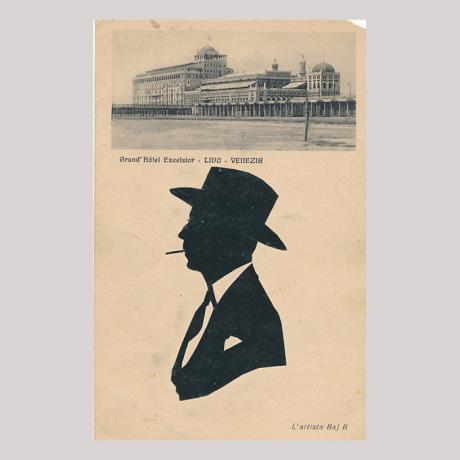 Front of silhouette, top; Grand Hotel Excelsior in Venice, bottom; with man looking left, smoking a cigarette, wearing a hat