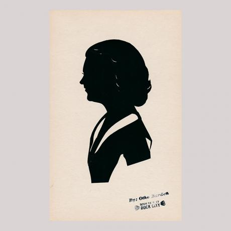 Front of silhouette, with a woman looking left.