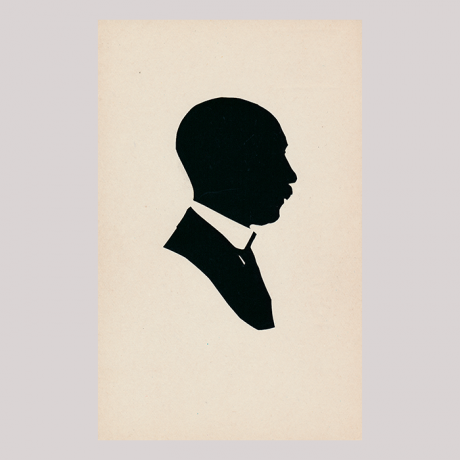 Front of silhouette, Man with a white collar looking to the right